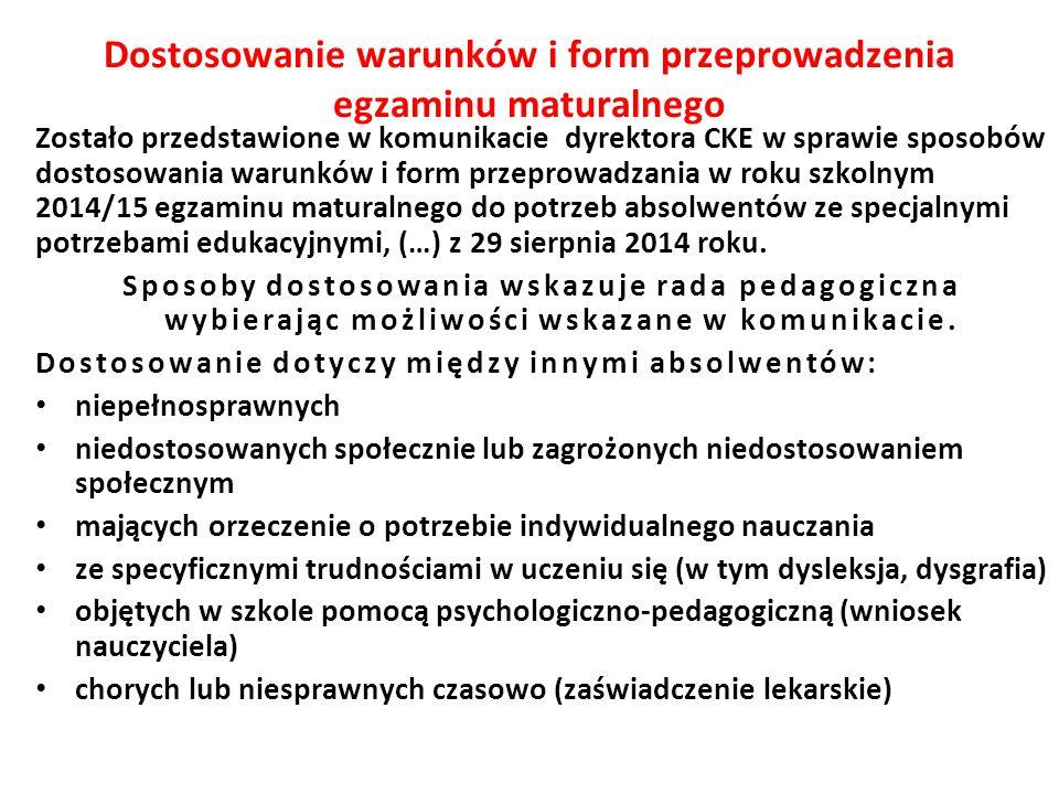Dostosowanie warunków i form przeprowadzenia egzaminu maturalnego