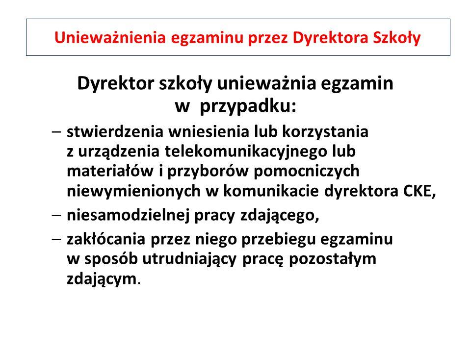 Unieważnienia egzaminu przez Dyrektora Szkoły