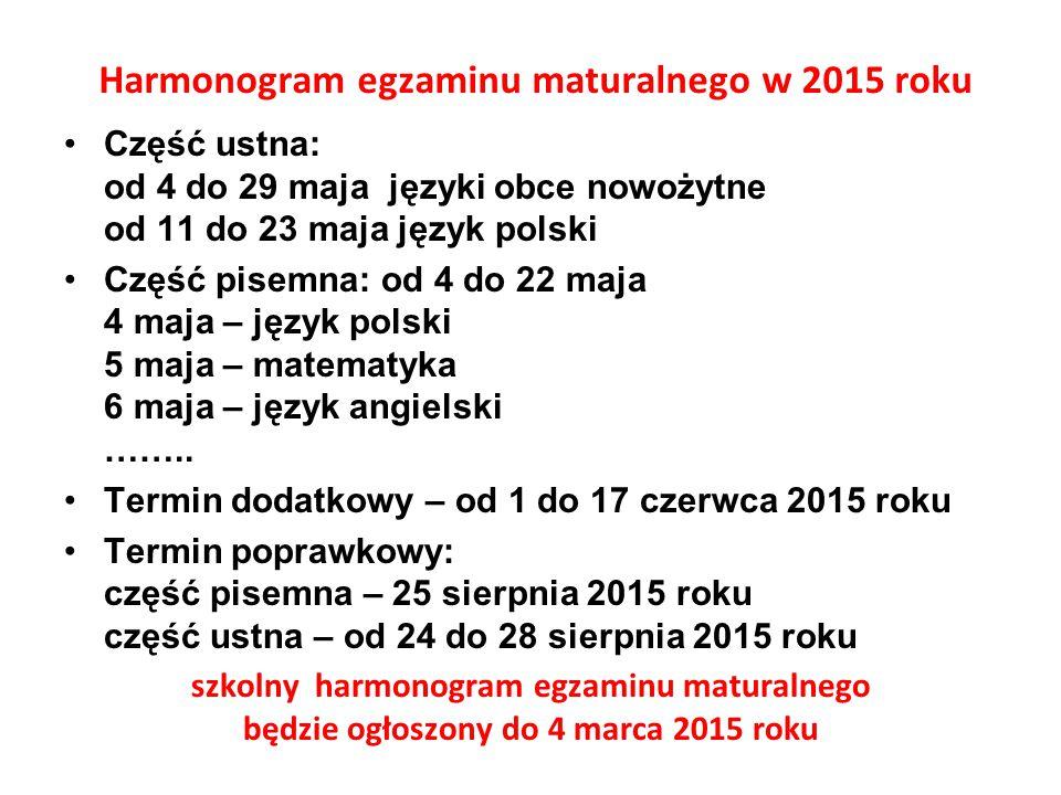 Harmonogram egzaminu maturalnego w 2015 roku