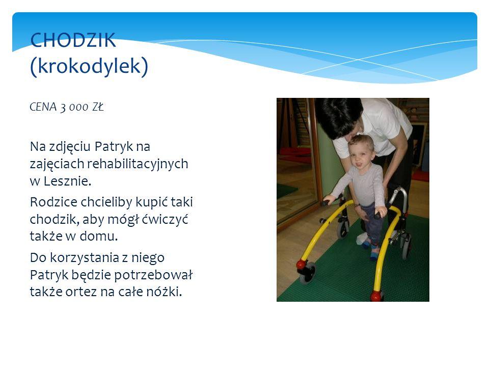 CHODZIK (krokodylek) CENA 3 000 ZŁ. Na zdjęciu Patryk na zajęciach rehabilitacyjnych w Lesznie.
