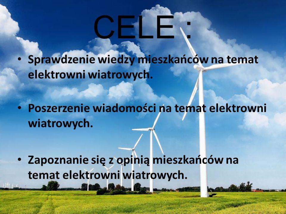 CELE : Sprawdzenie wiedzy mieszkańców na temat elektrowni wiatrowych.
