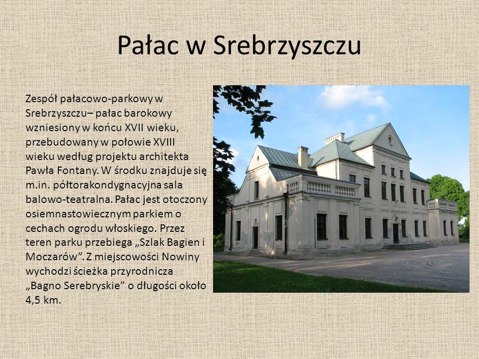 Pałac w Srebrzyszczu Zespół pałacowo-parkowy w Srebrzyszczu– pałac barokowy wzniesiony w końcu XVII wieku, przebudowany w połowie XVIII.