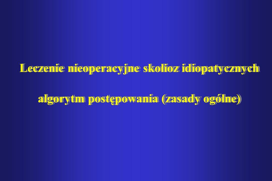 Leczenie nieoperacyjne skolioz idiopatycznych algorytm postępowania (zasady ogólne)