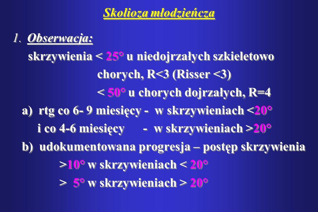 Skolioza młodzieńcza 1. Obserwacja: skrzywienia < 25° u niedojrzałych szkieletowo. chorych, R<3 (Risser <3)