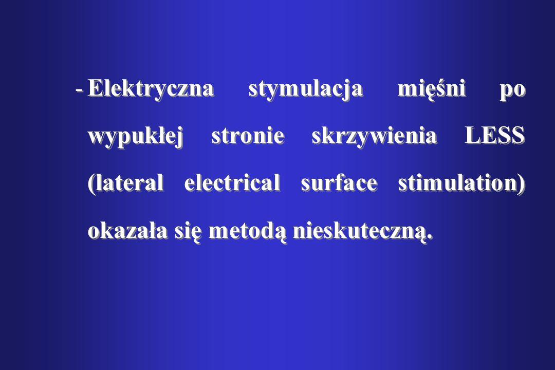 Elektryczna stymulacja mięśni po wypukłej stronie skrzywienia LESS (lateral electrical surface stimulation) okazała się metodą nieskuteczną.