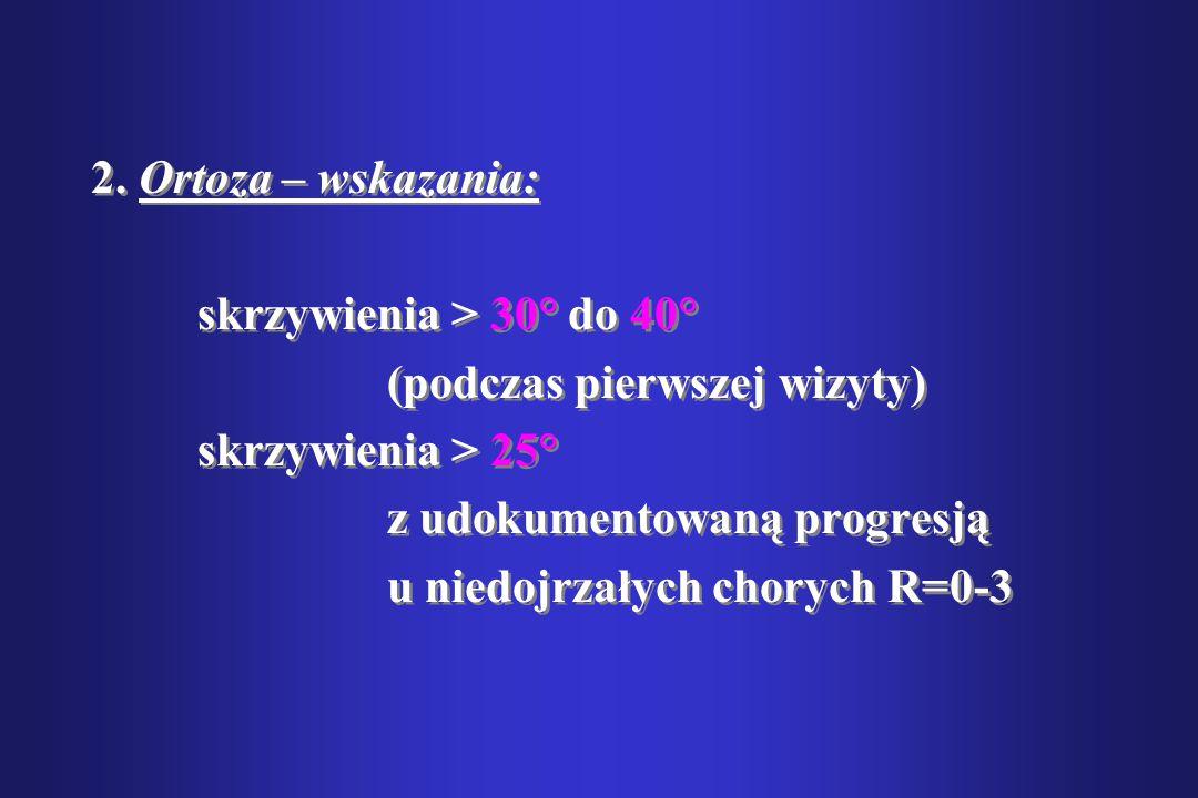 2. Ortoza – wskazania: skrzywienia > 30° do 40° (podczas pierwszej wizyty) skrzywienia > 25° z udokumentowaną progresją.