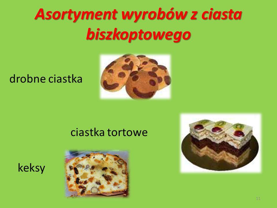 Asortyment wyrobów z ciasta biszkoptowego