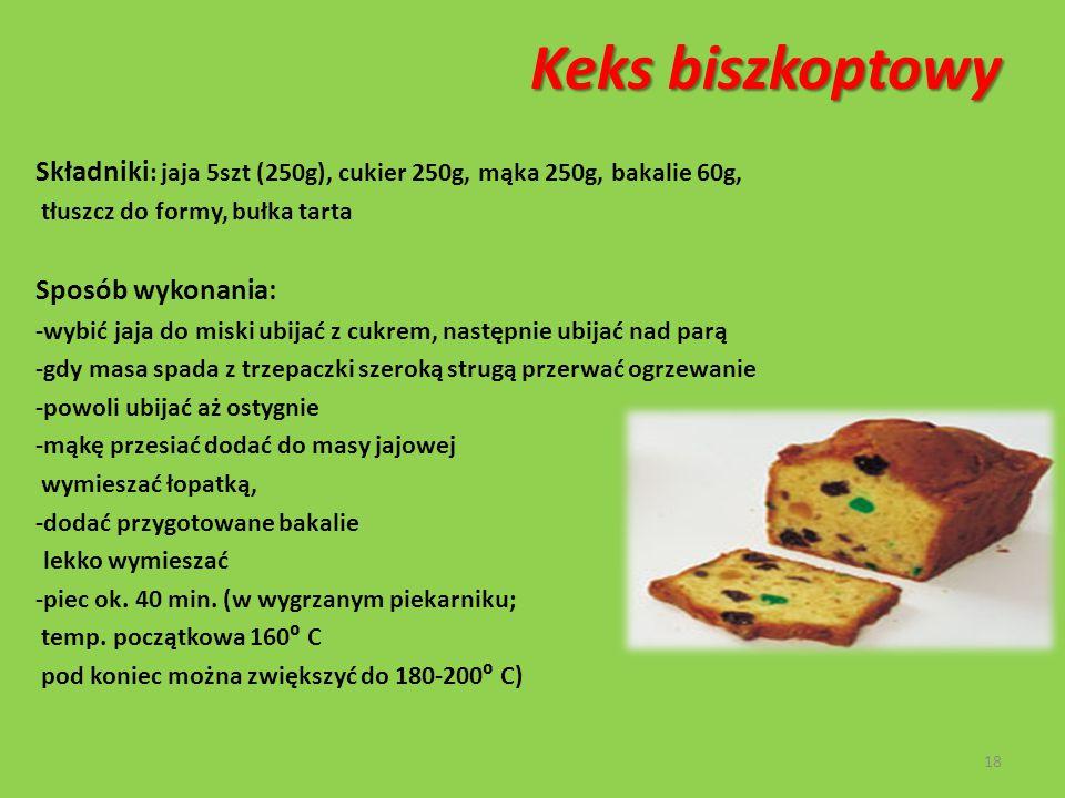 Keks biszkoptowy Składniki: jaja 5szt (250g), cukier 250g, mąka 250g, bakalie 60g, tłuszcz do formy, bułka tarta.