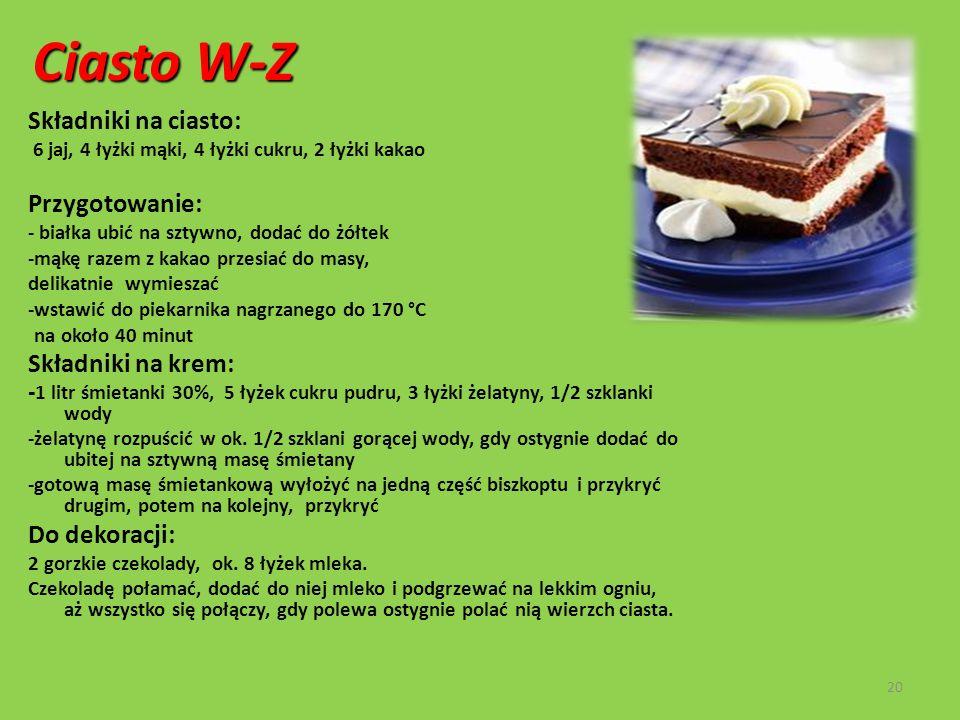 Ciasto W-Z Składniki na ciasto: Przygotowanie: Składniki na krem: