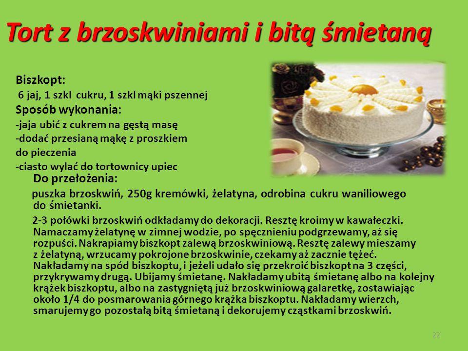 Tort z brzoskwiniami i bitą śmietaną