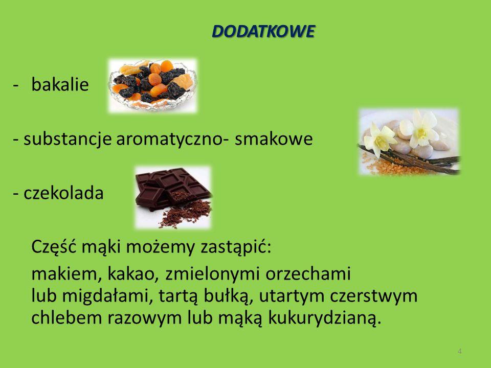 - substancje aromatyczno- smakowe - czekolada