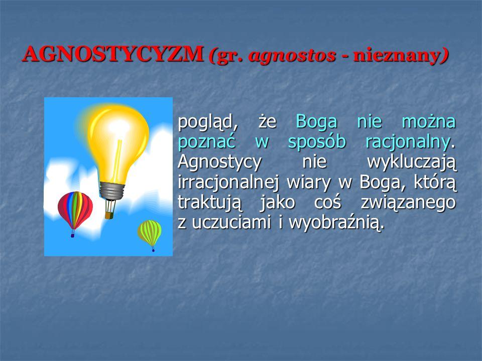 AGNOSTYCYZM (gr. agnostos - nieznany)