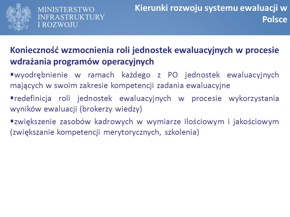 Kierunki rozwoju systemu ewaluacji w Polsce