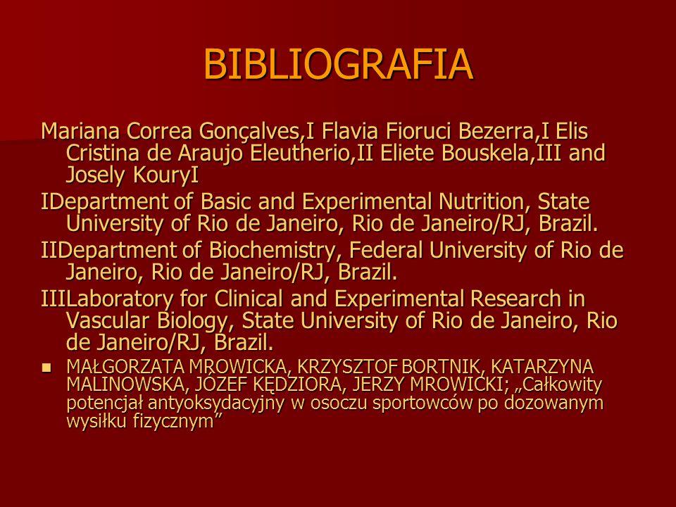 BIBLIOGRAFIA Mariana Correa Gonçalves,I Flavia Fioruci Bezerra,I Elis Cristina de Araujo Eleutherio,II Eliete Bouskela,III and Josely KouryI.