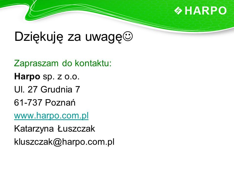 Dziękuję za uwagę Zapraszam do kontaktu: Harpo sp. z o.o.