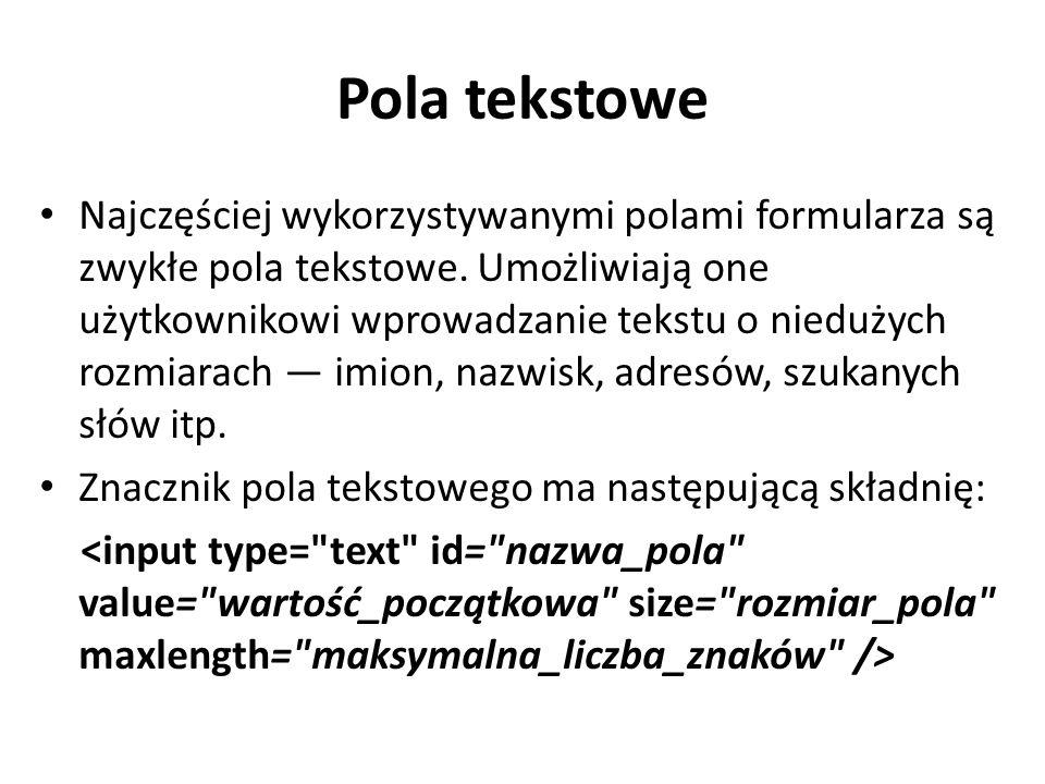 Pola tekstowe