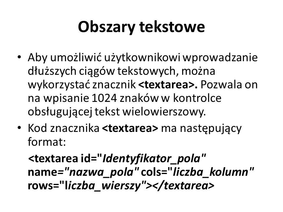 Obszary tekstowe