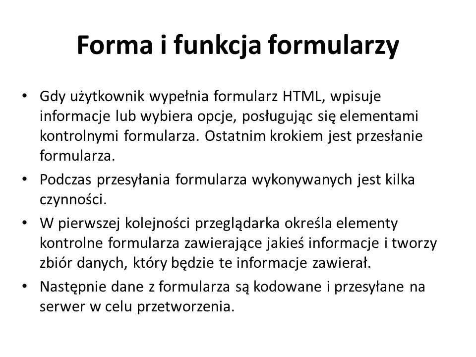 Forma i funkcja formularzy