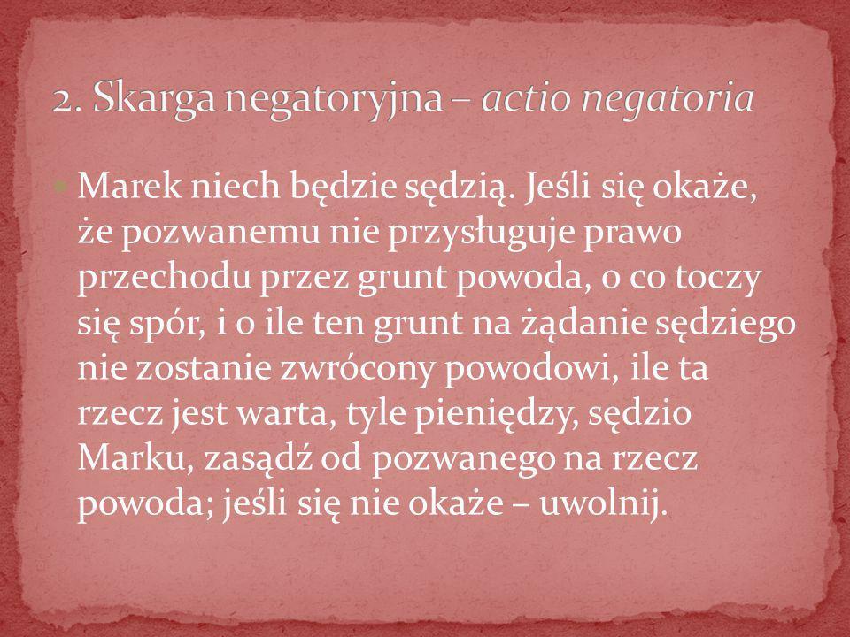 2. Skarga negatoryjna – actio negatoria