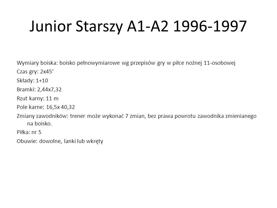 Junior Starszy A1-A2 1996-1997