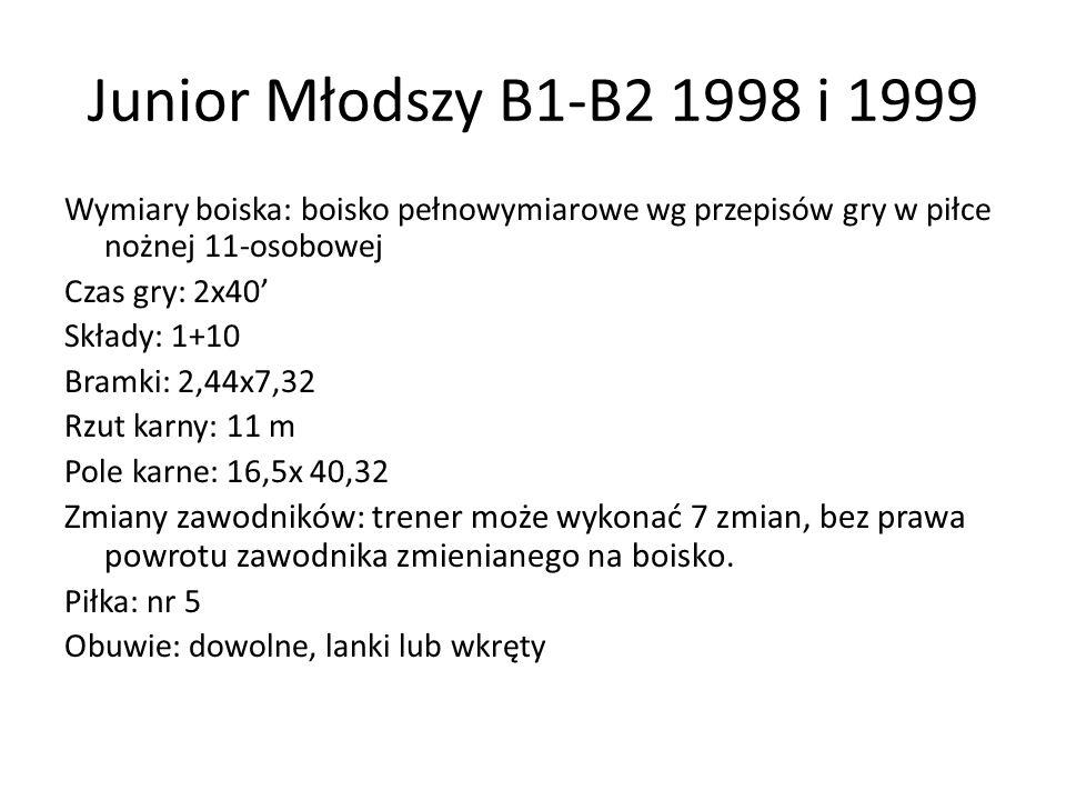Junior Młodszy B1-B2 1998 i 1999 Wymiary boiska: boisko pełnowymiarowe wg przepisów gry w piłce nożnej 11-osobowej.