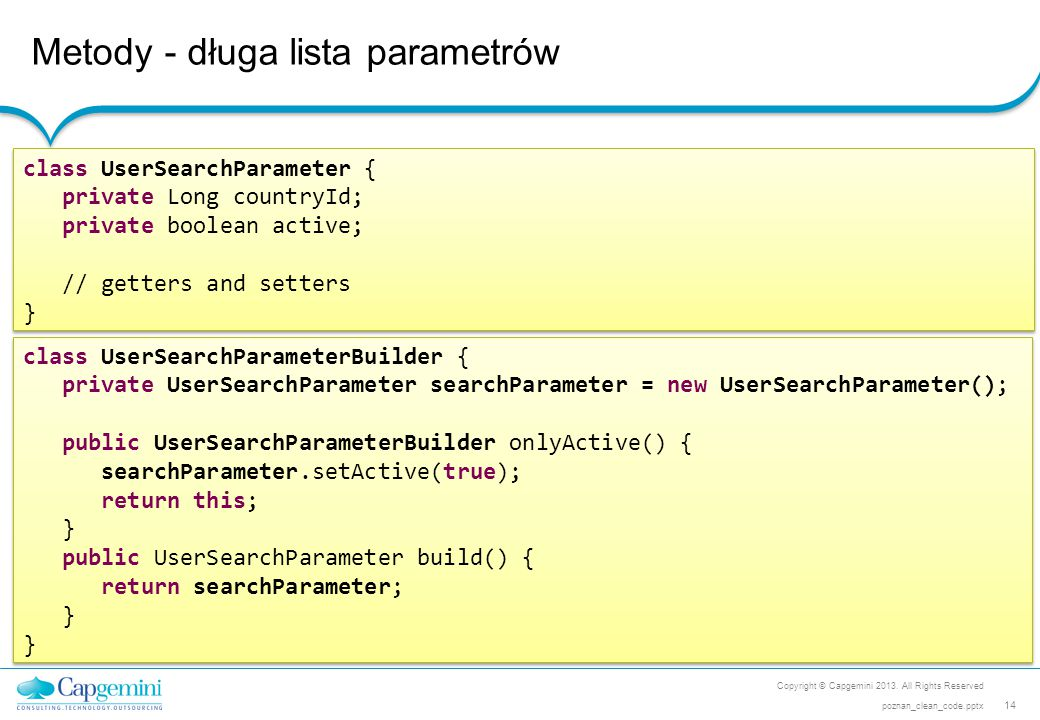 Metody - długa lista parametrów