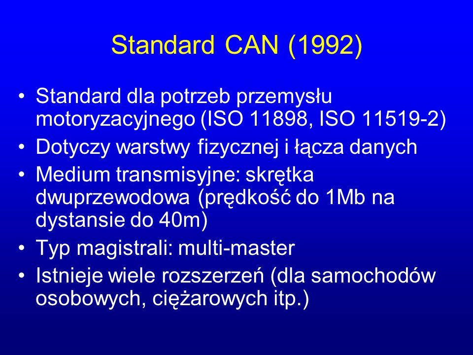 Standard CAN (1992) Standard dla potrzeb przemysłu motoryzacyjnego (ISO 11898, ISO 11519-2) Dotyczy warstwy fizycznej i łącza danych.