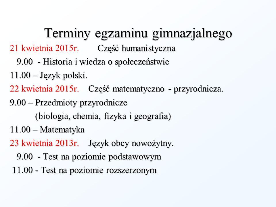 Terminy egzaminu gimnazjalnego