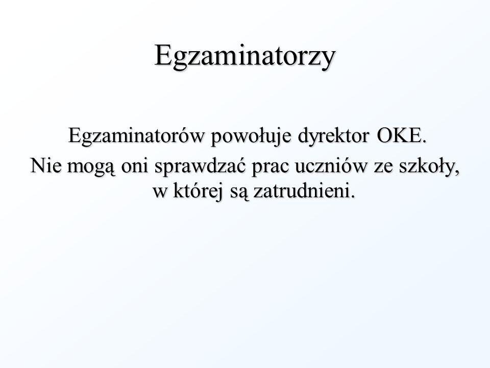 Egzaminatorzy Egzaminatorów powołuje dyrektor OKE.