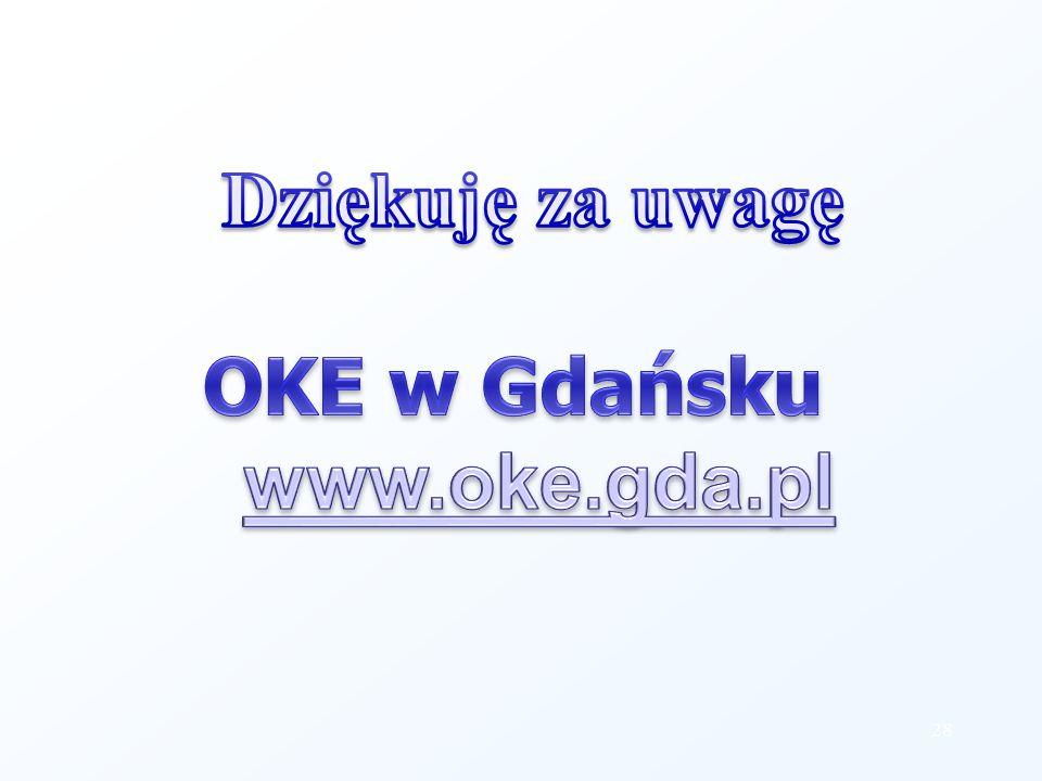 Dziękuję za uwagę OKE w Gdańsku www.oke.gda.pl