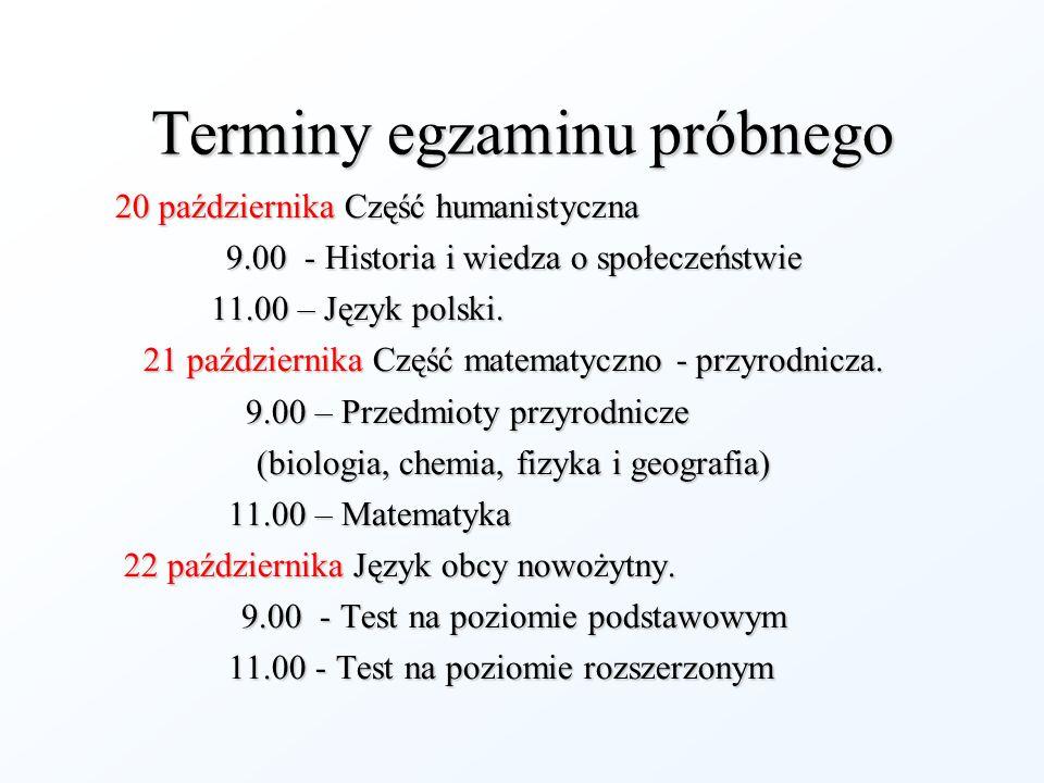 Terminy egzaminu próbnego