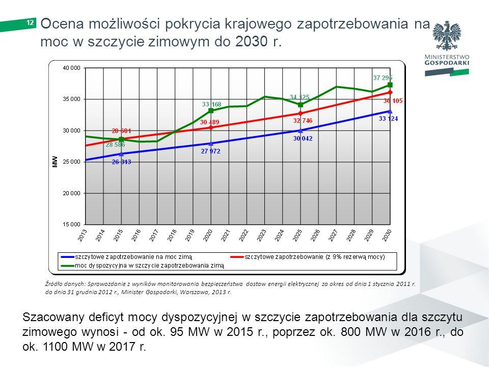 Ocena możliwości pokrycia krajowego zapotrzebowania na moc w szczycie zimowym do 2030 r.