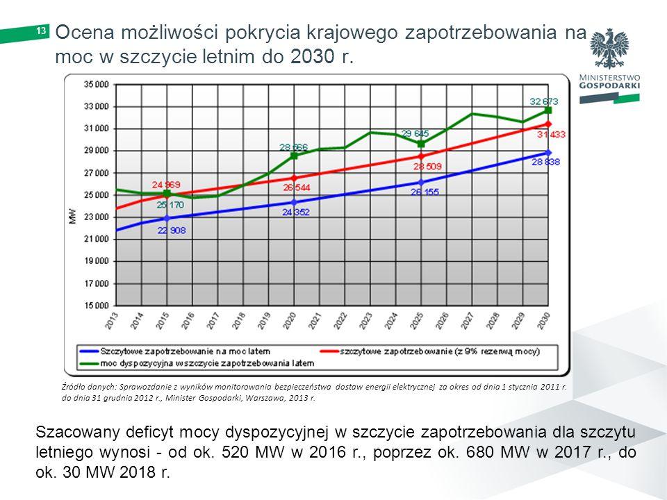 Ocena możliwości pokrycia krajowego zapotrzebowania na moc w szczycie letnim do 2030 r.