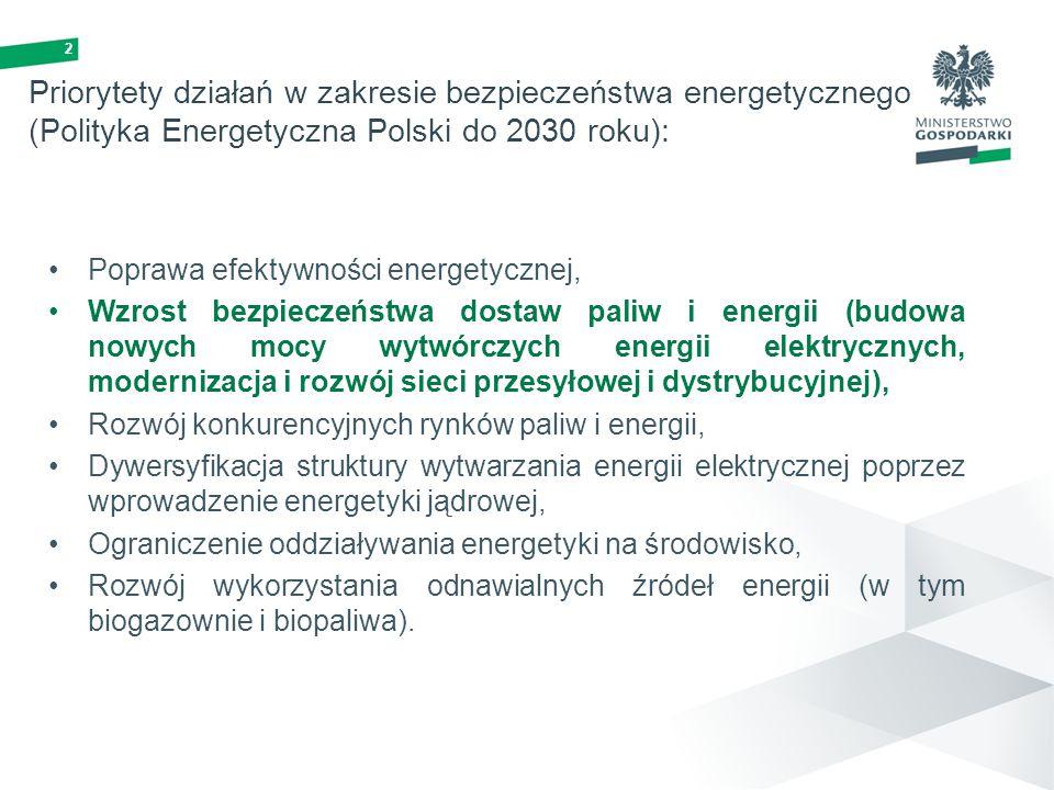 Priorytety działań w zakresie bezpieczeństwa energetycznego (Polityka Energetyczna Polski do 2030 roku):