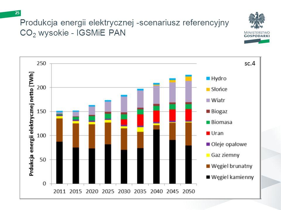 Produkcja energii elektrycznej -scenariusz referencyjny CO2 wysokie - IGSMiE PAN