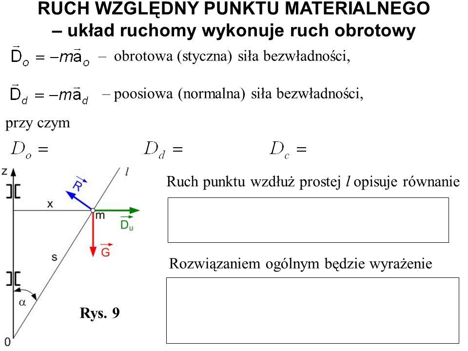 RUCH WZGLĘDNY PUNKTU MATERIALNEGO – układ ruchomy wykonuje ruch obrotowy