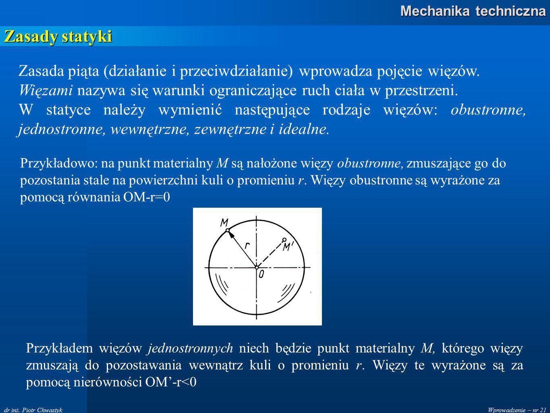 Zasady statyki Zasada piąta (działanie i przeciwdziałanie) wprowadza pojęcie więzów.