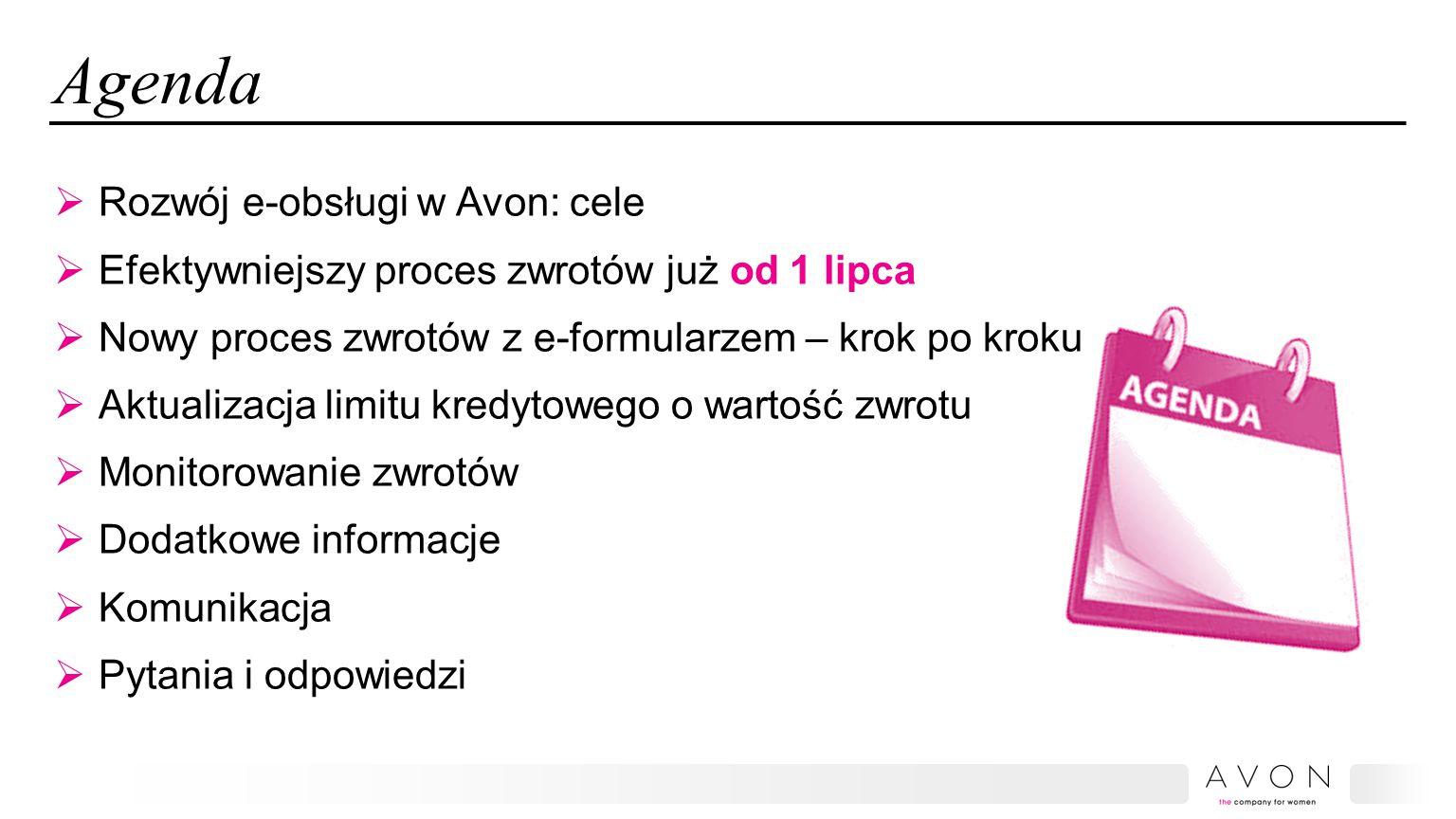 Agenda Rozwój e-obsługi w Avon: cele