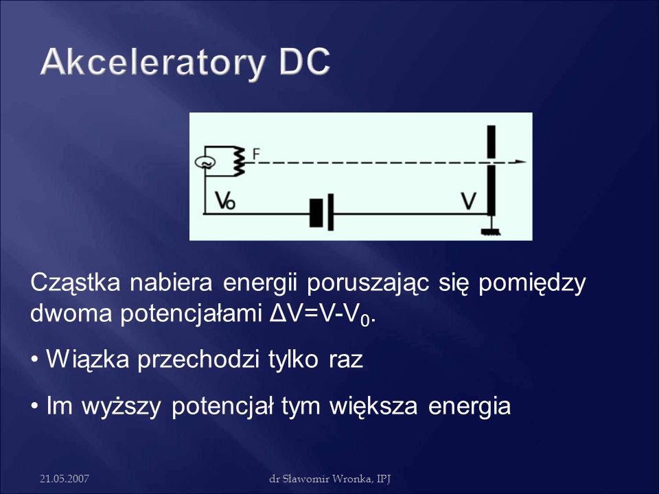 Akceleratory DC Cząstka nabiera energii poruszając się pomiędzy dwoma potencjałami ΔV=V-V0. Wiązka przechodzi tylko raz.