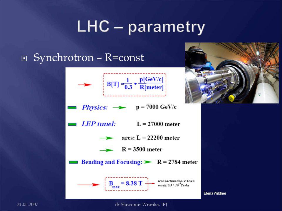 LHC – parametry Synchrotron – R=const 21.05.2007