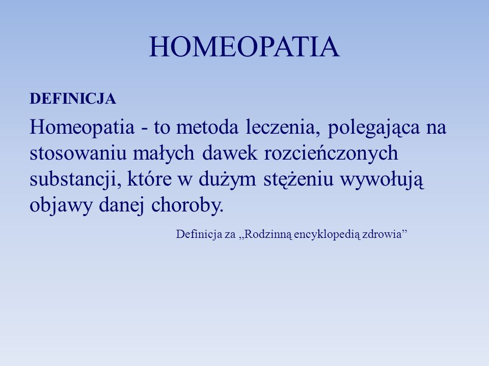 HOMEOPATIA DEFINICJA.