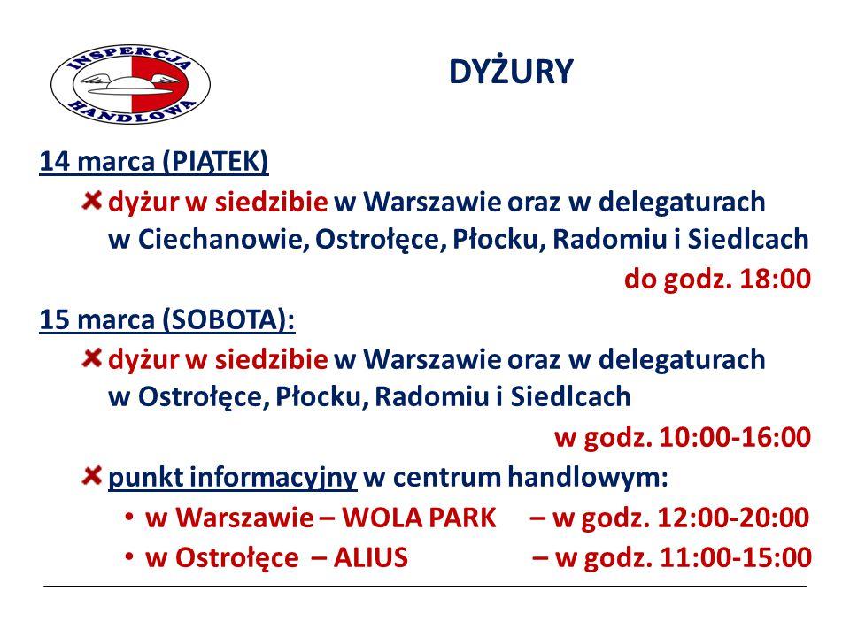 2017-04-07 DYŻURY. 14 marca (PIĄTEK) dyżur w siedzibie w Warszawie oraz w delegaturach w Ciechanowie, Ostrołęce, Płocku, Radomiu i Siedlcach.