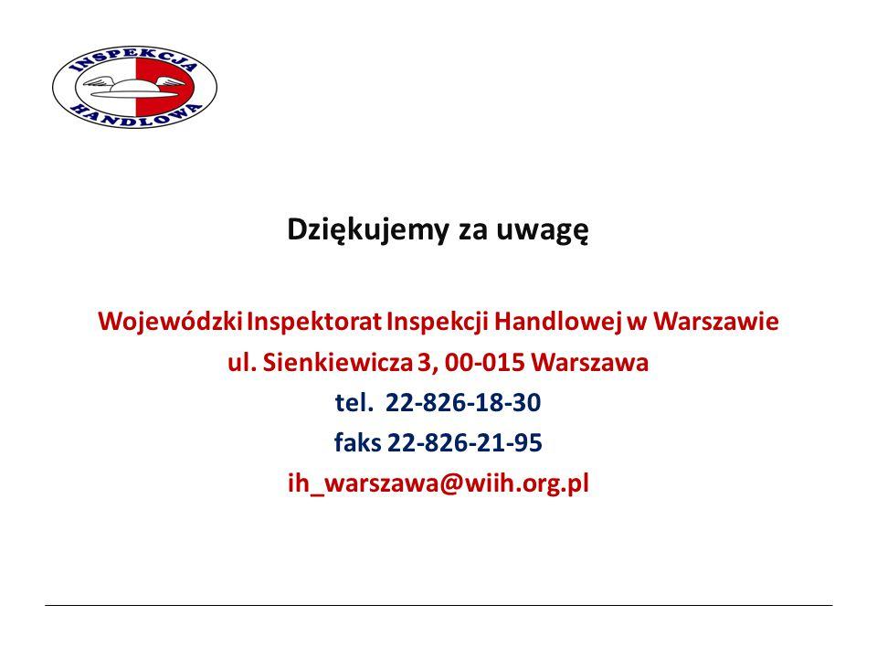 2017-04-07 Dziękujemy za uwagę. Wojewódzki Inspektorat Inspekcji Handlowej w Warszawie. ul. Sienkiewicza 3, 00-015 Warszawa.