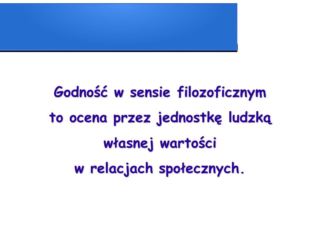 Godność w sensie filozoficznym to ocena przez jednostkę ludzką własnej wartości w relacjach społecznych.