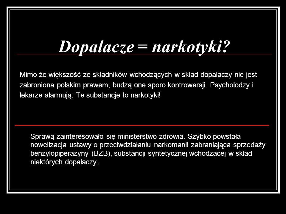 Dopalacze = narkotyki Mimo że większość ze składników wchodzących w skład dopalaczy nie jest.