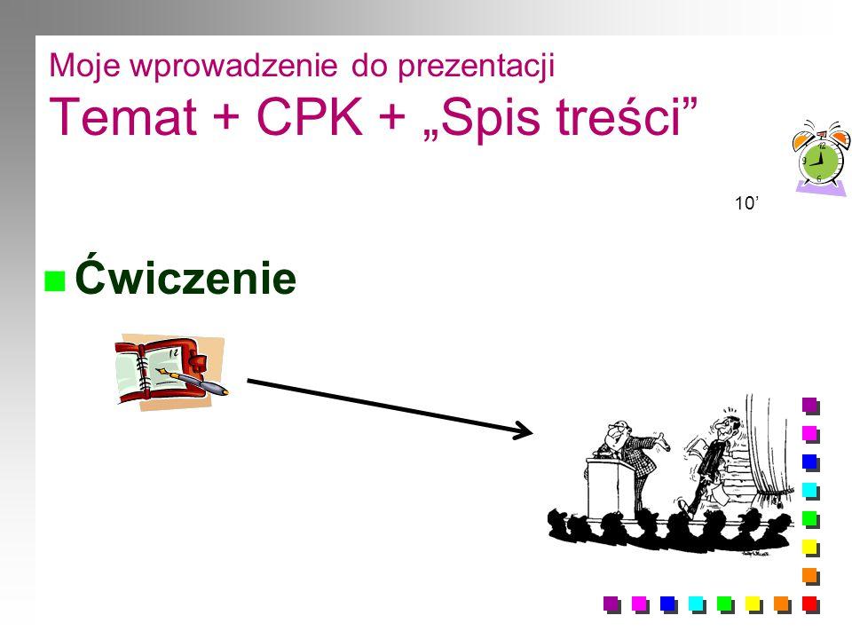 """Moje wprowadzenie do prezentacji Temat + CPK + """"Spis treści"""