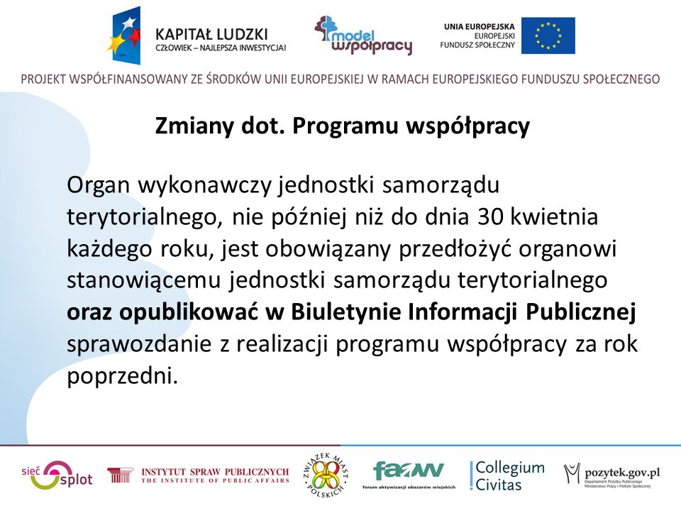 Zmiany dot. Programu współpracy