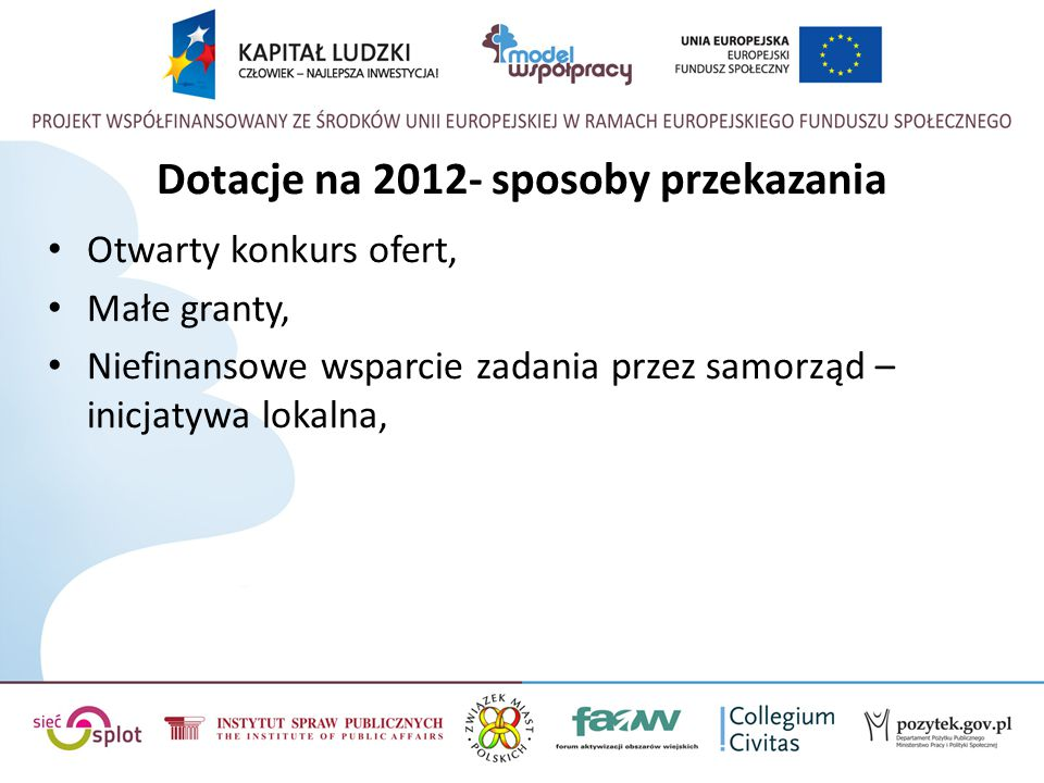 Dotacje na 2012- sposoby przekazania