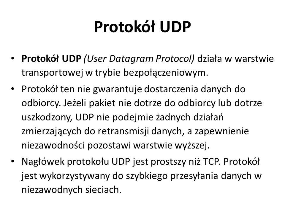 Protokół UDP Protokół UDP (User Datagram Protocol) działa w warstwie transportowej w trybie bezpołączeniowym.