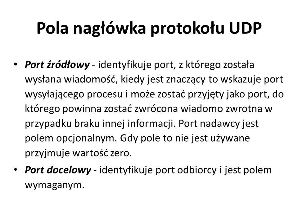 Pola nagłówka protokołu UDP